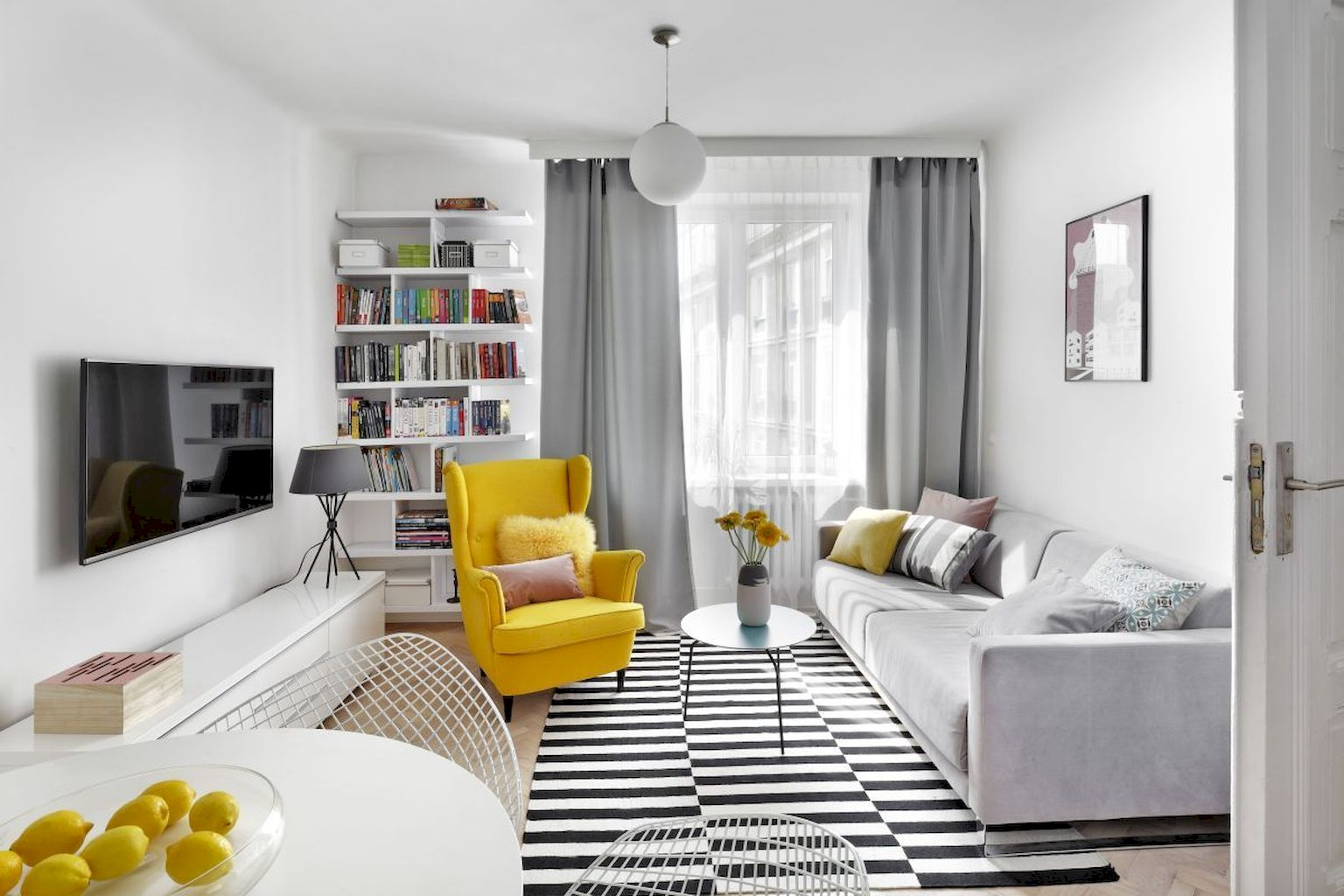 Prettify Neutral Apartment Schemes Using Pop Of Colors