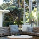 Modern outdoor living area with cozy furniture and firepit Part 18