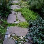 Natural garden walk ways from large stones and flagged stones Part 22