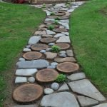 Natural garden walk ways from large stones and flagged stones Part 27