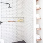Open shelving and builtin cabinets for lots of extra bathroom storage Part 25