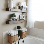 Open shelving at end of a bathtub for more efficient bathroom organization Part 32