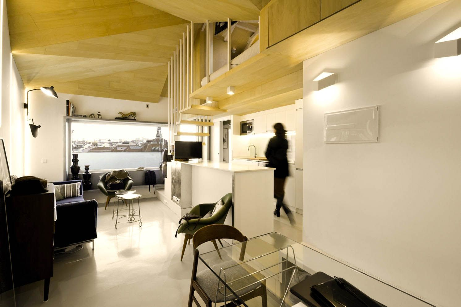 Amazing kitchen arrangement that simple and functional space from attic ronovation in Madrid MULTIPLYING ARCHITECTURES (III) Duplicated Renovation (4)