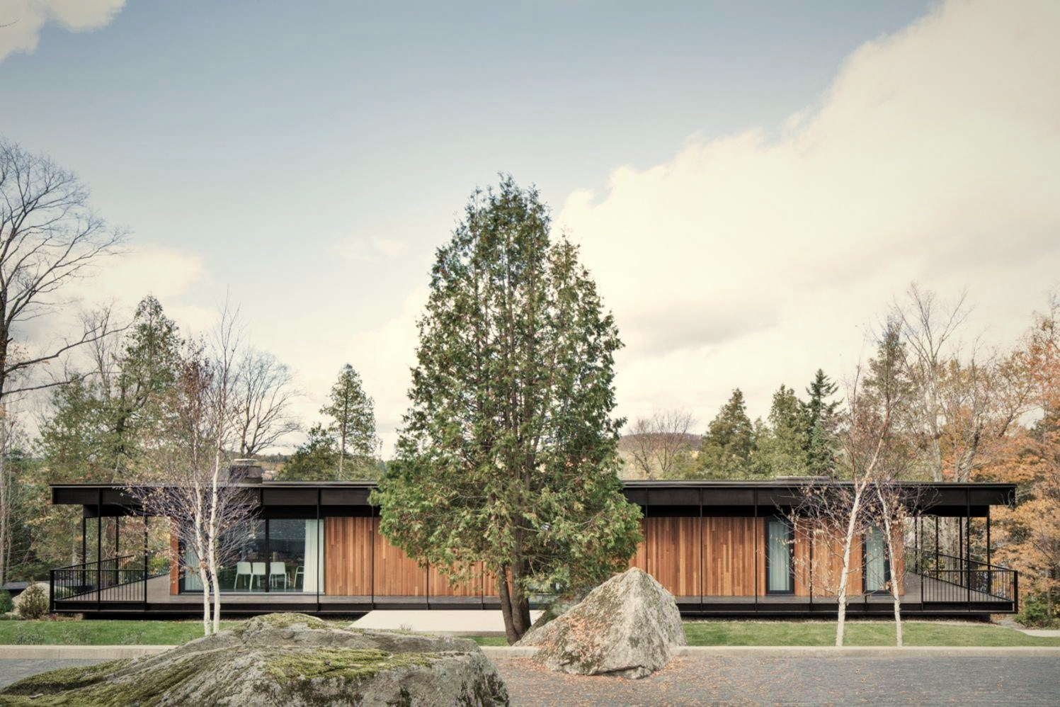 Flat roof house built in slooping land showing beautiful combination of nature and elegant architeture concept (2)