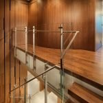 Floating wood stair with glass panel and steel handrail Market Street Penthouse (2)