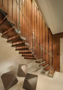 Floating wood stair with glass panel and steel handrail Market Street Penthouse (3)