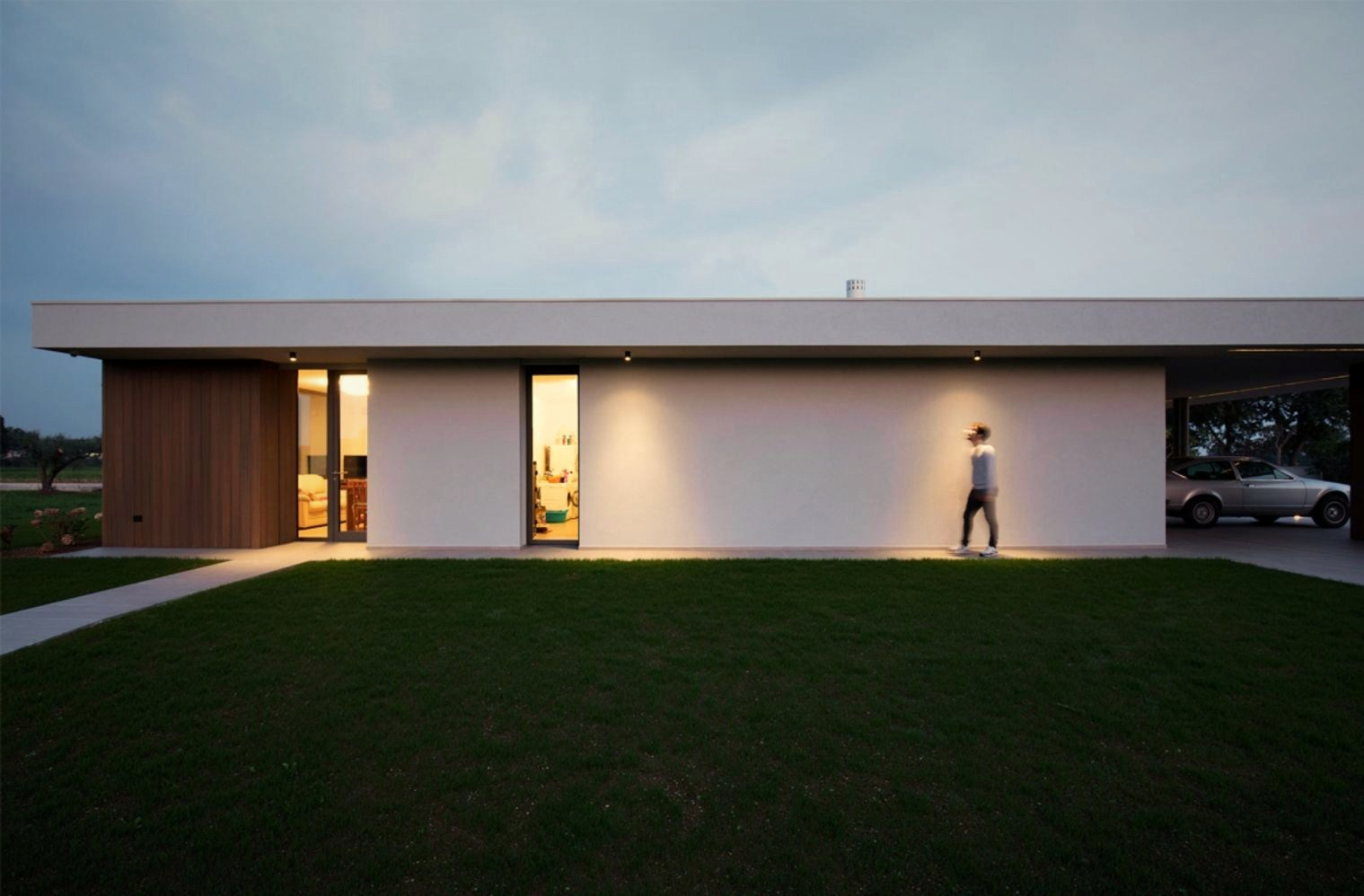 Impressive architecture work underscoring flat roof house style in the middle of green grass field (4)