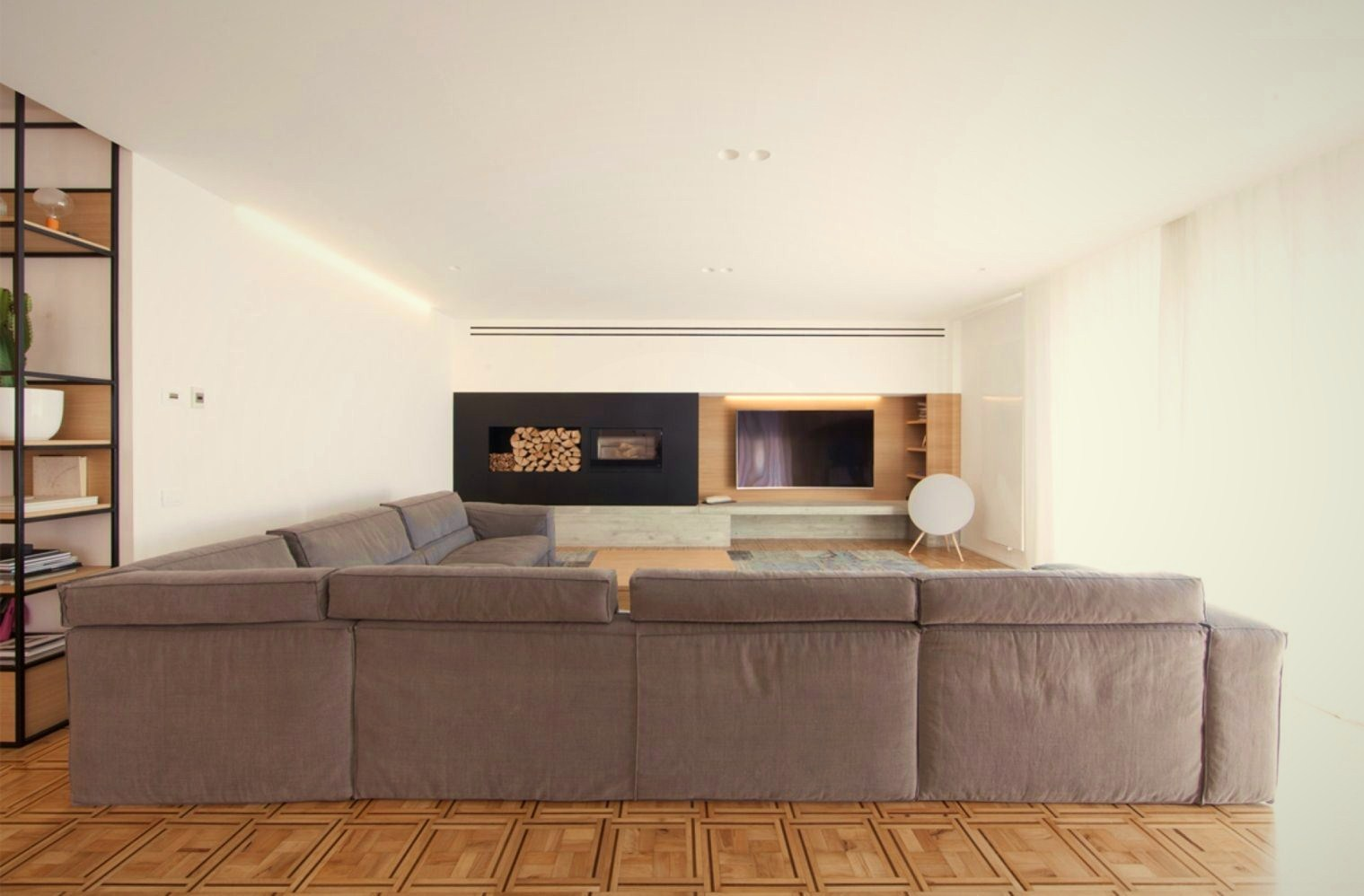 L shape sofa in greyish cover in modern living room House AB (2)