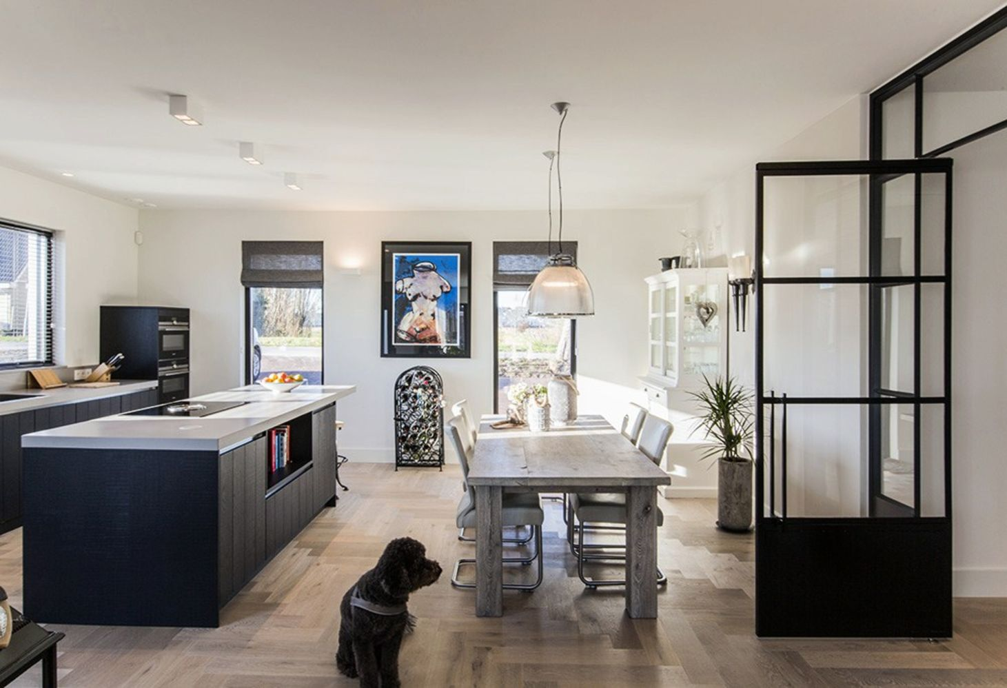 Black white barn house design showing open interior concept with seamless modern home characteristics Out Of The Box (4)