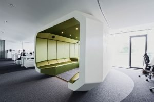 Fashionable modern office style with multiple design characters for different work zones