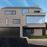 Neoteric facade design of House F presenting jutted out windows and garrage doors (1)
